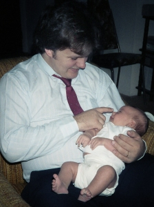 My husband Paul and our firstborn Gawain in 1986.